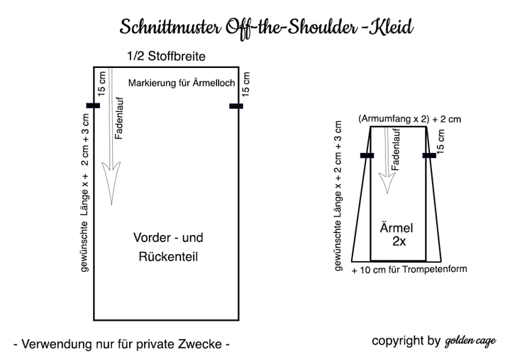 Schnittmuster_Off the Shoulder_Maxikleid by golden cage