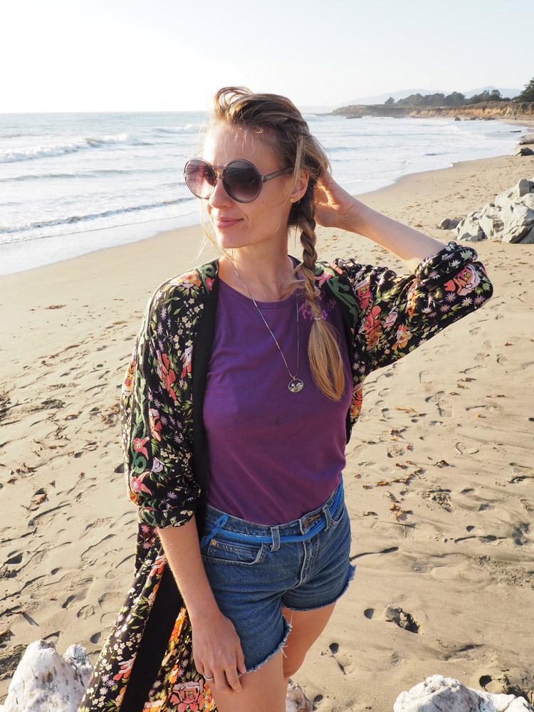 Kimono ZARA_Denimshorts Vintage_T-Shirt Diesel Vintage_Moonstone Beach_Cambria_Kalifornien_7