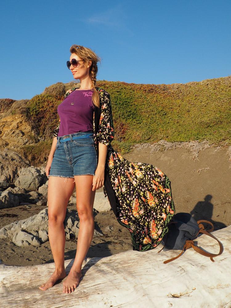 Kimono ZARA_Denimshorts Vintage_T-Shirt Diesel Vintage_Moonstone Beach_Cambria_Kalifornien_16