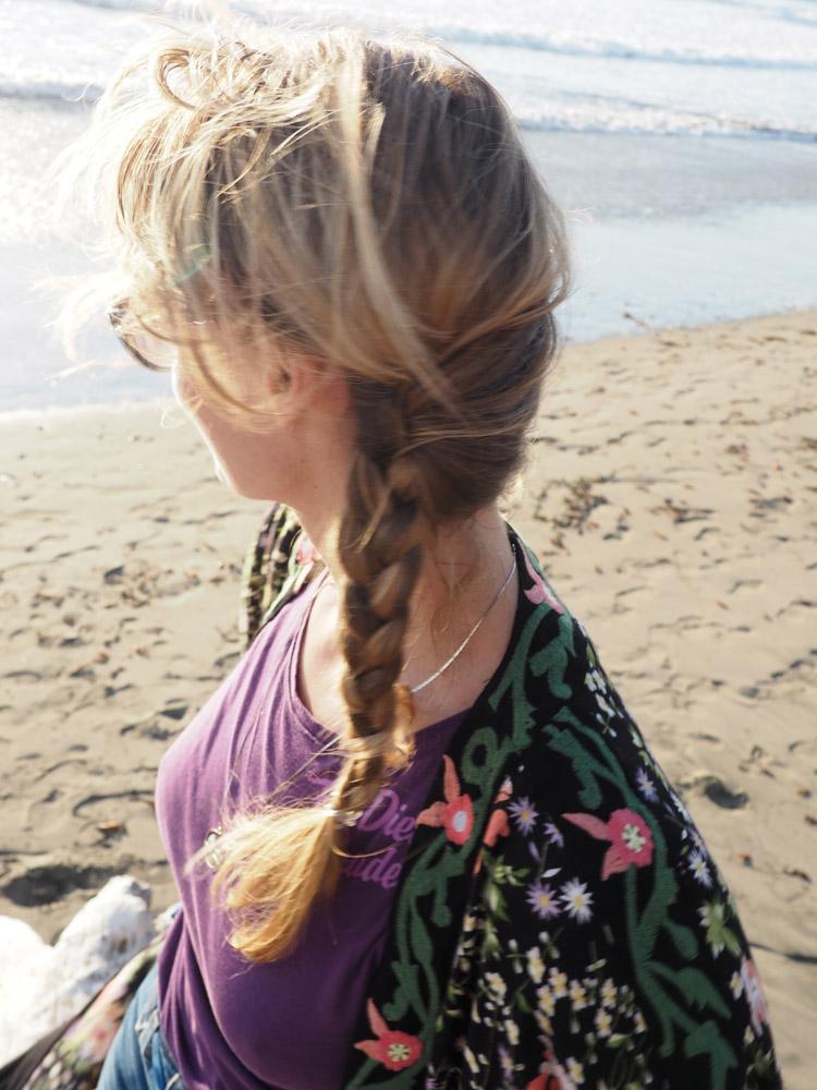 Kimono ZARA_Denimshorts Vintage_T-Shirt Diesel Vintage_Moonstone Beach_Cambria_Kalifornien_12