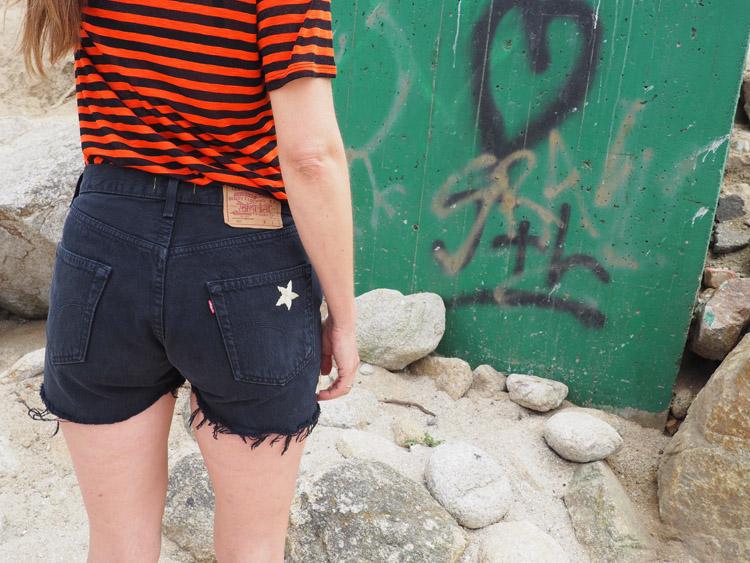 Jeans Shorts_AMERIKA_Vintage Levis 501_bestickt_Sterne_golden cage_3