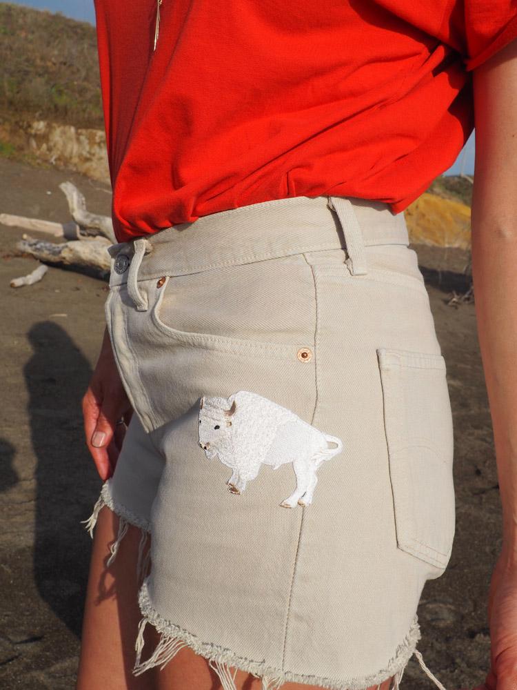 Jeans Shorts_Yosemite_Vintage Levis 501_Aufnäher_golden cage_3