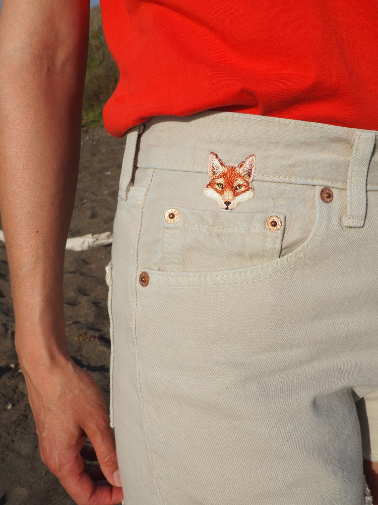 Jeans Shorts_Yosemite_Vintage Levis 501_Aufnäher_golden cage_2