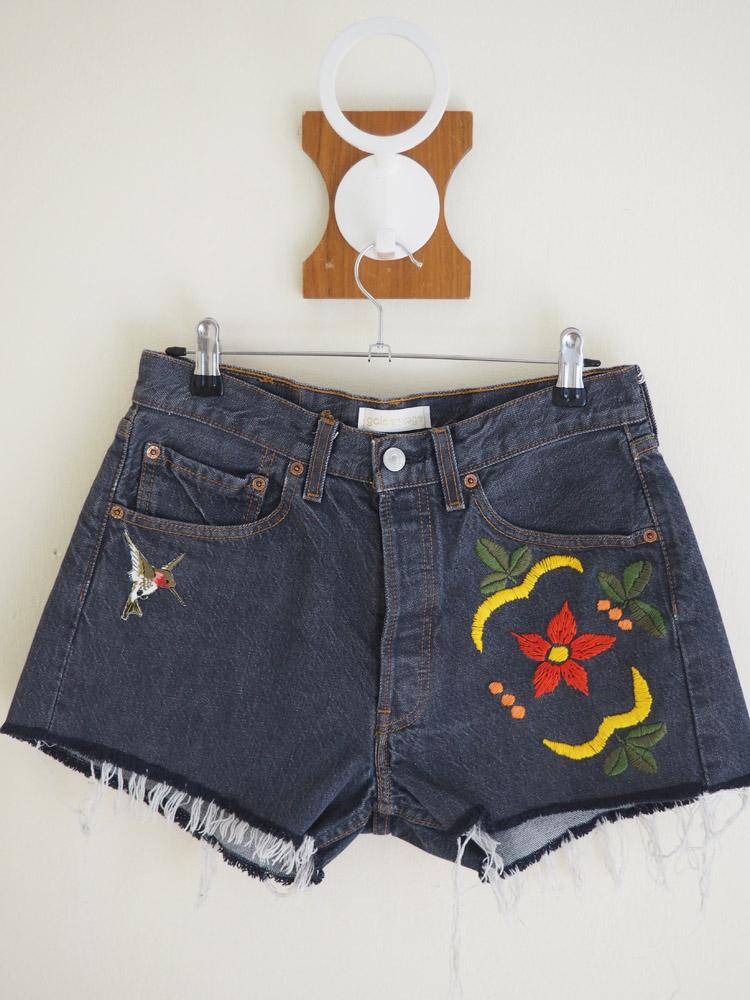 Jeans Shorts_San Francisco_Vintage Levis 501_Aufnäher_bestickt_golden cage