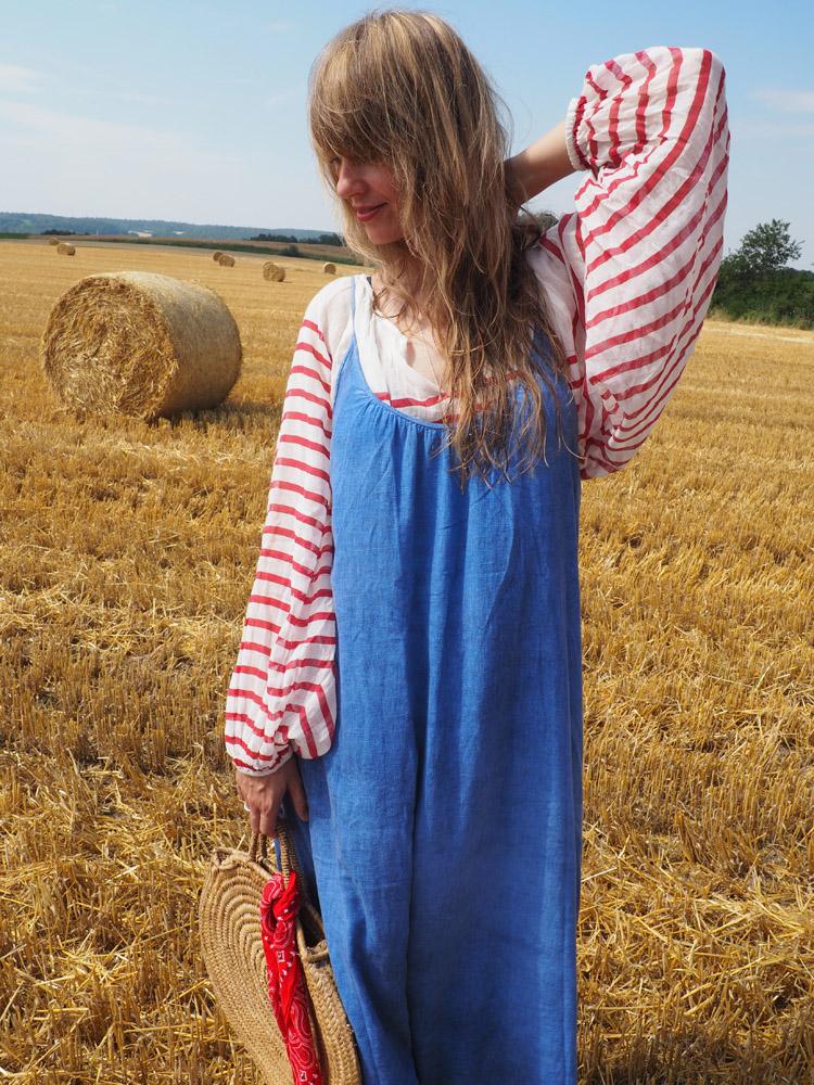 Trägerkleid kombinieren_Streifenbluse_Mes Demoiselles_Kleid 9 Seed_golden cage