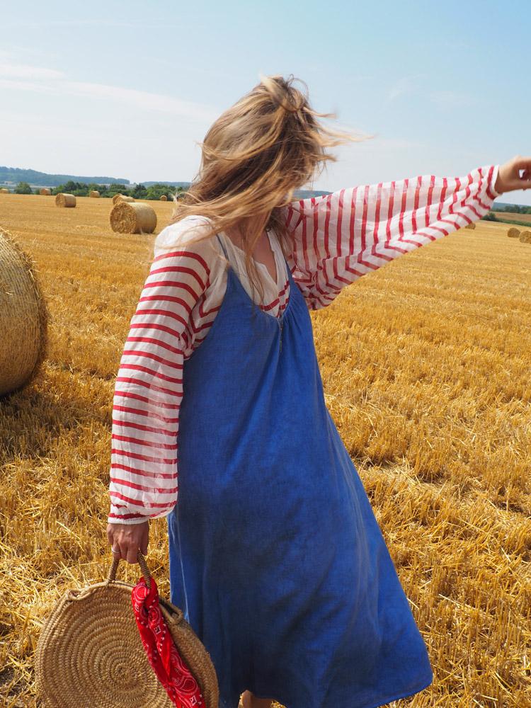 Trägerkleid kombinieren_Streifenbluse_Mes Demoiselles_Kleid 9 Seed_golden cage_17