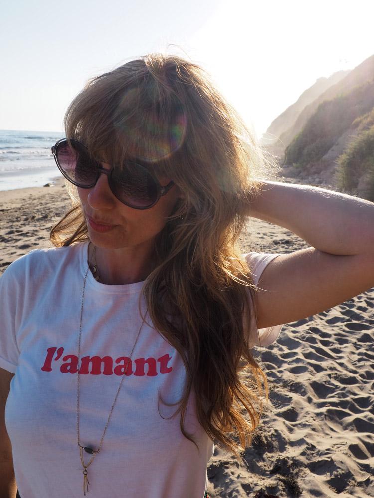 T-Shirt Sézane_Mes Demoiselles Skirt_Hendry's Beach_Santa Barbara_golden cage_6