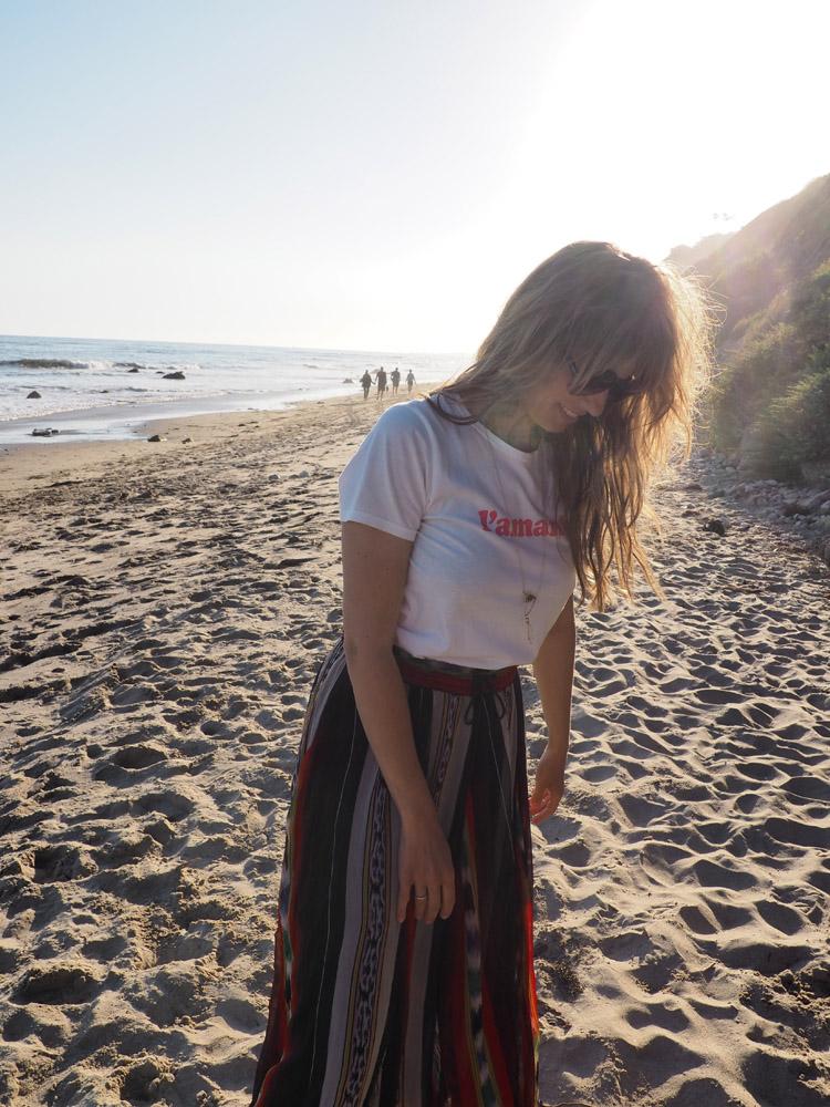 T-Shirt Sézane_Mes Demoiselles Skirt_Hendry's Beach_Santa Barbara_golden cage_2