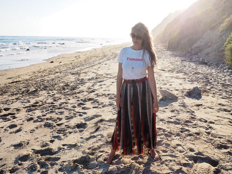 T-Shirt Sézane_Mes Demoiselles Skirt_Hendry's Beach_Santa Barbara_golden cage_5