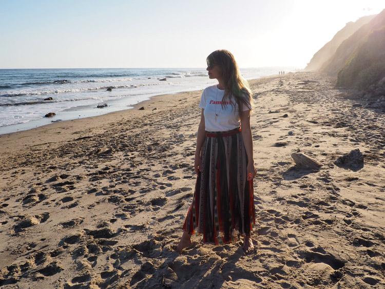 T-Shirt Sézane_Mes Demoiselles Skirt_Hendry's Beach_Santa Barbara_golden cage_8